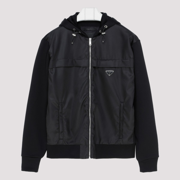 Black nylon outerwear jacket