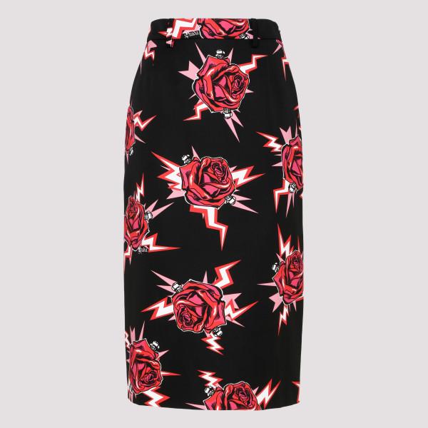 Roses print pencil skirt
