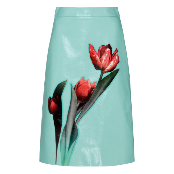 Teal blue leather skirt