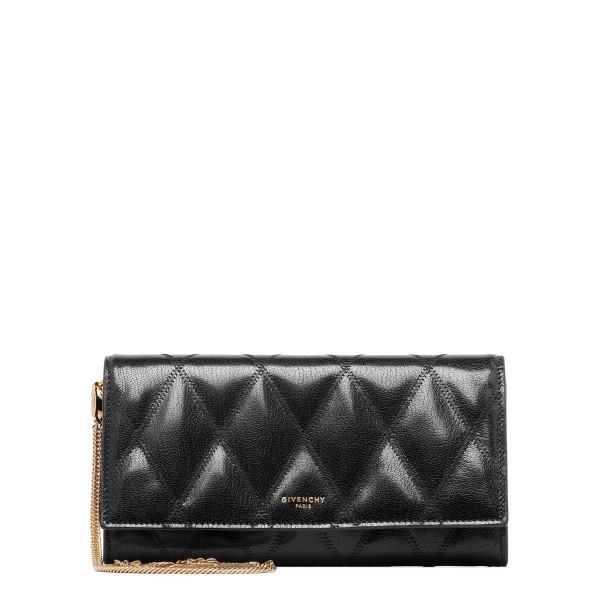 GV3 black matelassé chain wallet