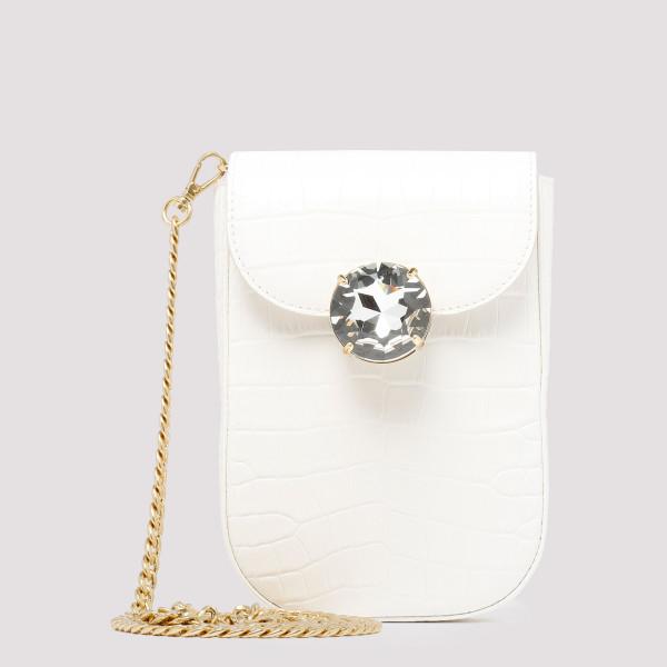 Croc-embossed leather shoulder bag