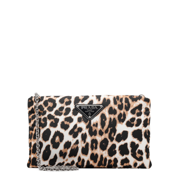 Leopard nylon medium pouch