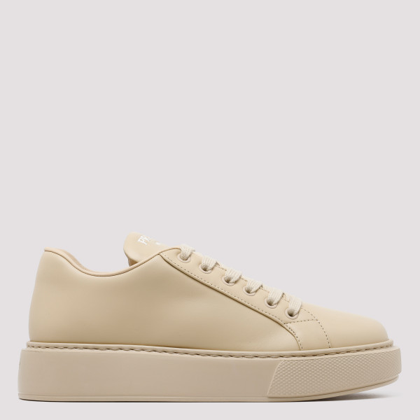 Beige leather sneakers