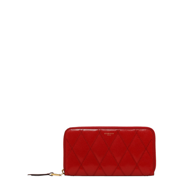 Red diamond quilted leather wallet