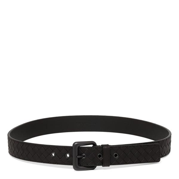 Dark brown intrecciato leather belt
