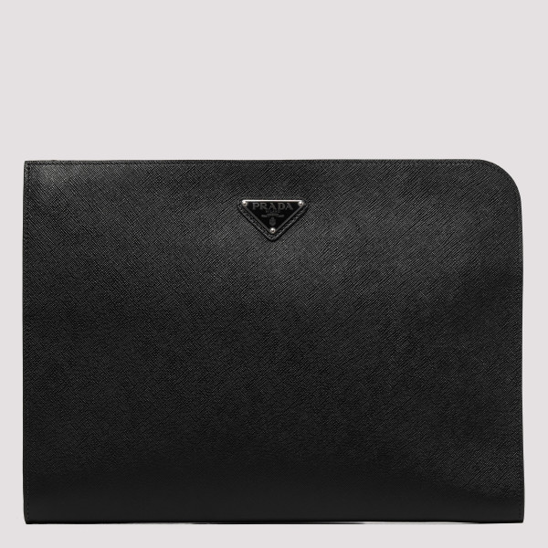 Black saffiano leather...