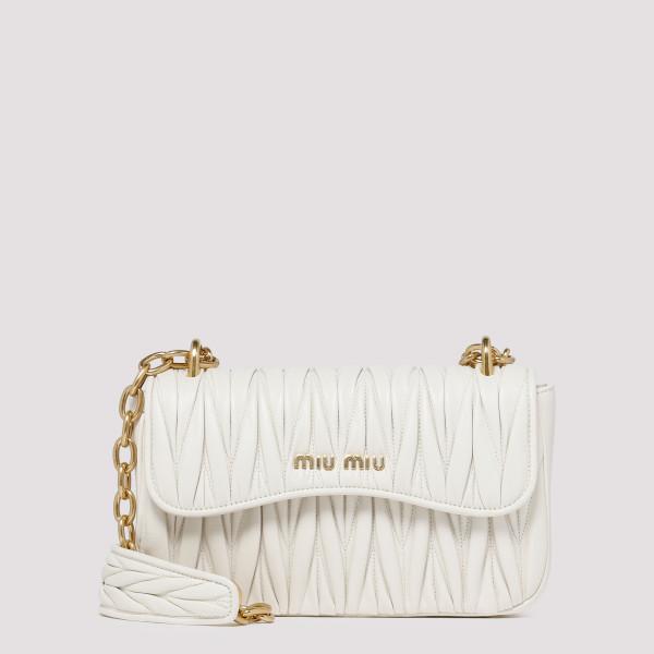 White matelassé leather...
