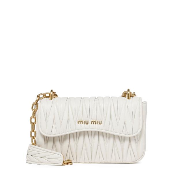 White matelassé leather shoulder bag