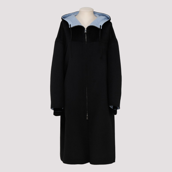 Black wool belted coat