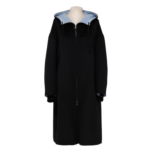 Black wool belted coat