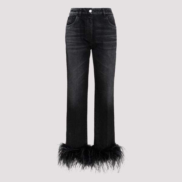 Black jeans with ostrich feather trim