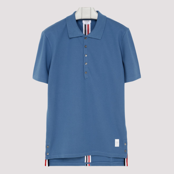 Light blue polo with back stripes