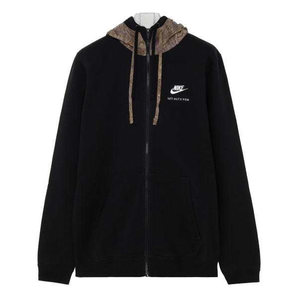 Black cotton-blend hoodie