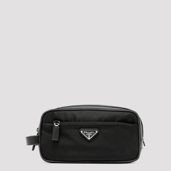 Black nylon cosmetic pouch
