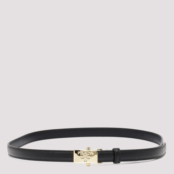 Black saffiano thin belt