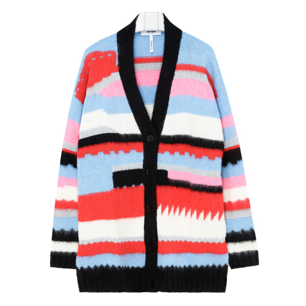 Multicolor buttoned cardigan