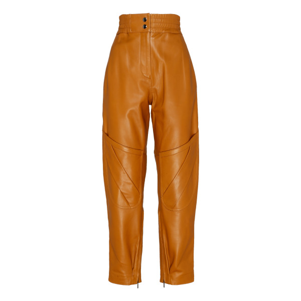 Louiza cognac brown leather pants