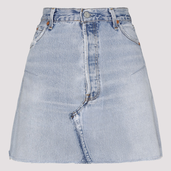 Indigo blue denim mini skirt