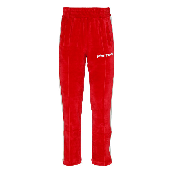 Red chenille track pants