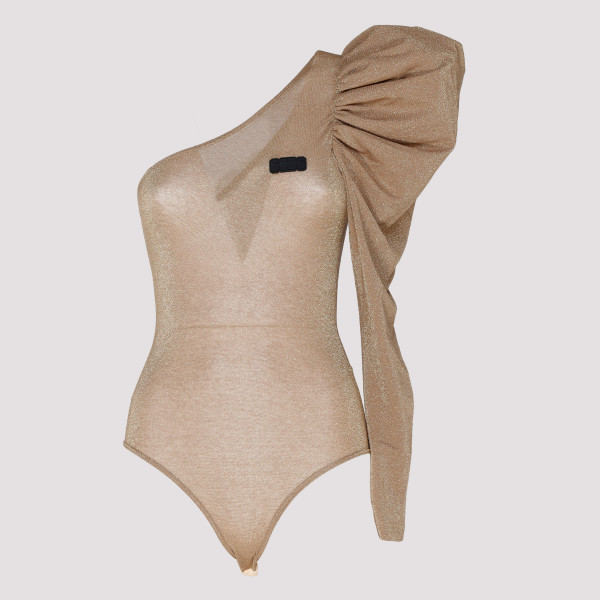 Gold one-shoulder bodysuit
