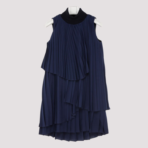 Blue crepe de chine dress