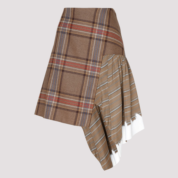 Check wool and viscose skirt