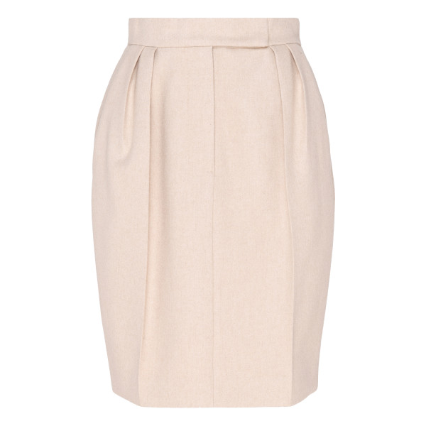Cream white cashmere blend skirt