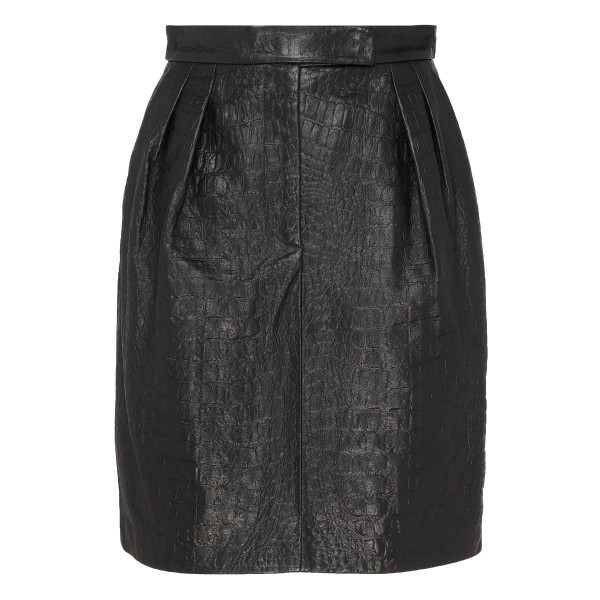 Black croc-embossed leather skirt