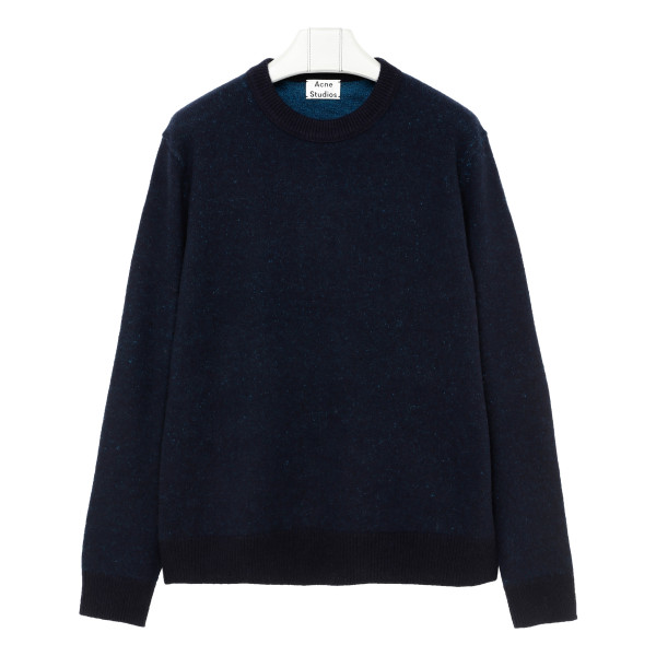 Blue Two-tone crewneck sweater