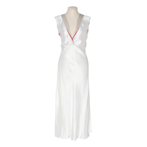 Net-trimmed midi slip dress