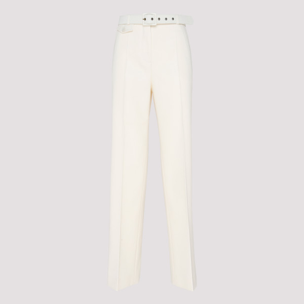 White Belted Tailored Pants