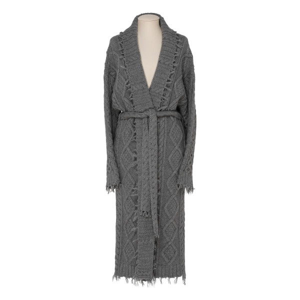 Gray Fisherman cable-knit cashmere coat