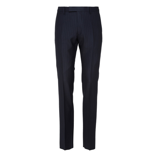 Navy pinstripe wool pants