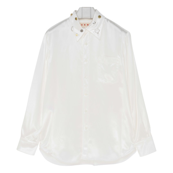 White embellished-collar shirt