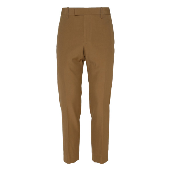 Beige Cotton-blend twill trousers