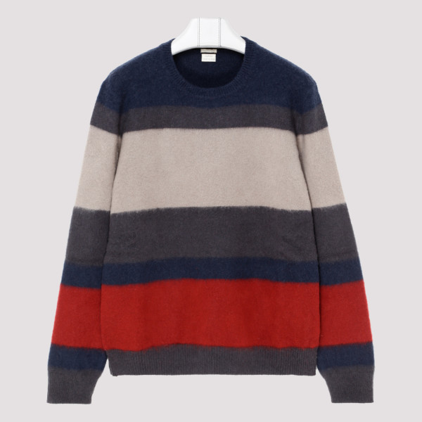 Striped brushed cashmere...