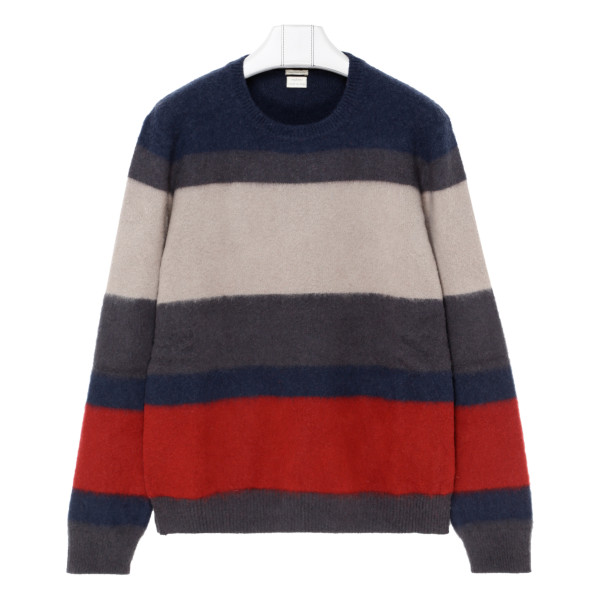Striped brushed cashmere sweater