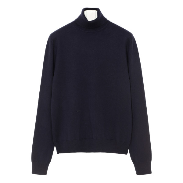 Blue cashmere turtleneck sweater