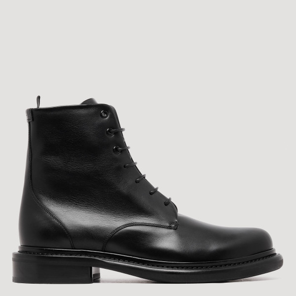 Black leather waterproof boots