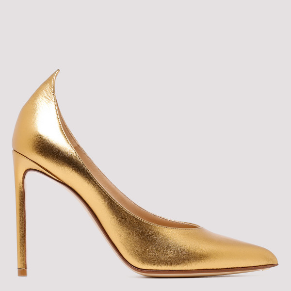 Metallic gold leather pumps