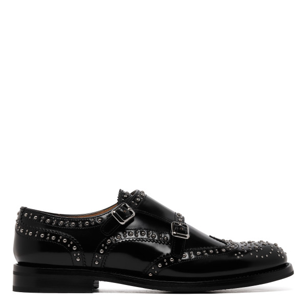 Double monk studded lace-up flats