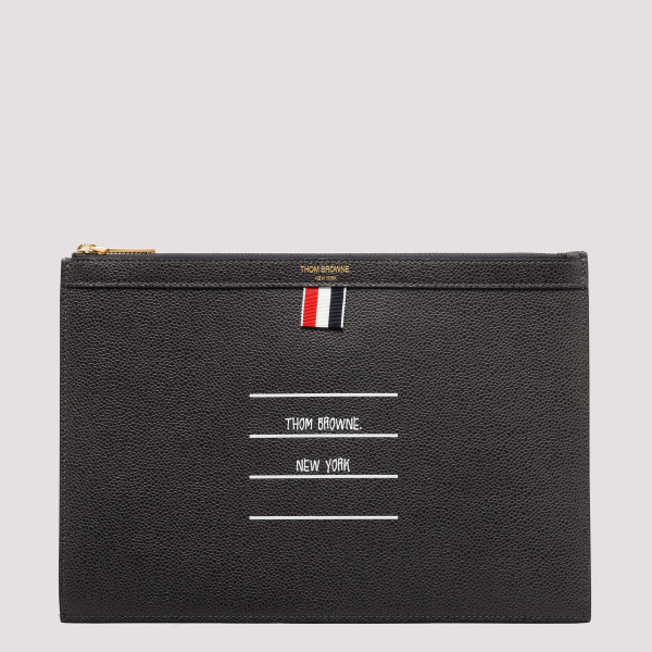 Black leather document case