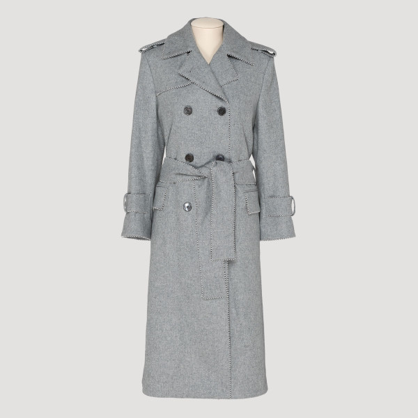 Pearl trim flannel trench coat