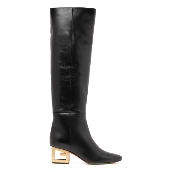 Black leather G heel boots
