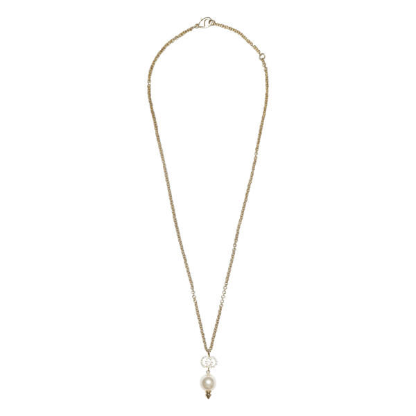 Interlocking G necklace with pearl