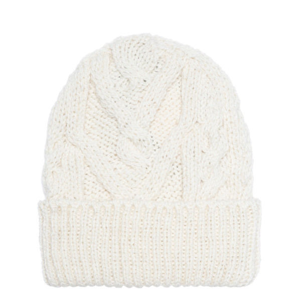 White Aran Cable Hat