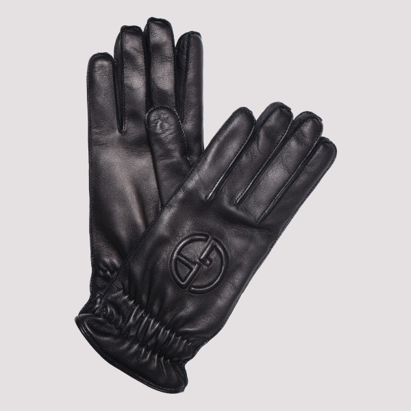 Blue navy leather gloves...