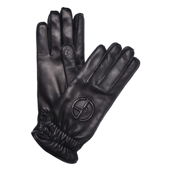 Blue navy leather gloves with logo
