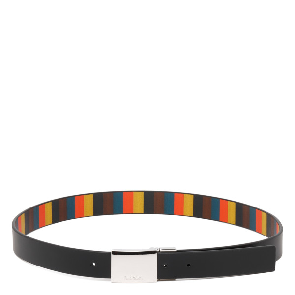Black leather belt with striped motif