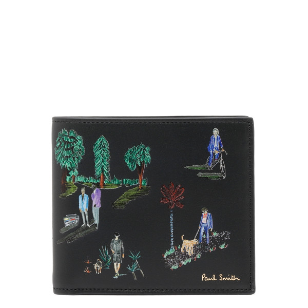 People motif leather card-holder